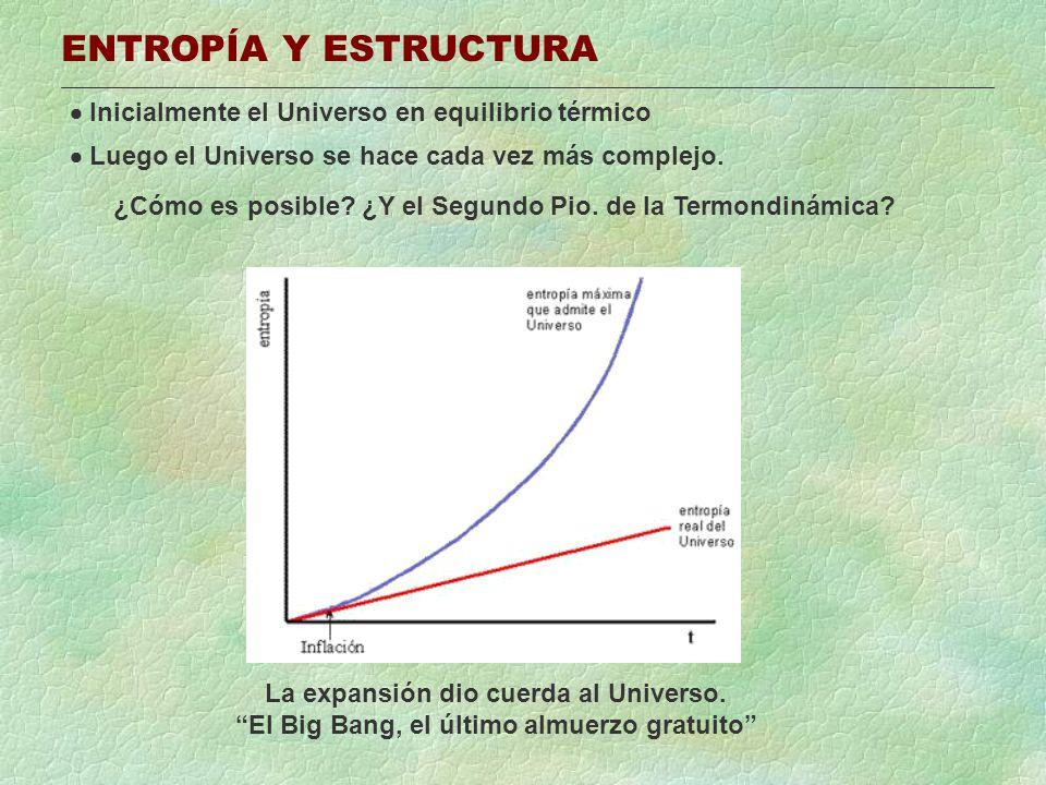 ENTROPÍA Y ESTRUCTURA Inicialmente el Universo en equilibrio térmico Luego el Universo se hace cada vez más complejo. ¿Cómo es posible? ¿Y el Segundo