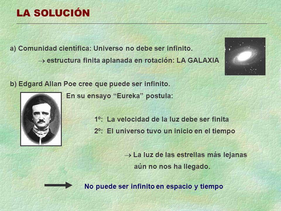 LA SOLUCIÓN a) Comunidad científica: Universo no debe ser infinito. estructura finita aplanada en rotación: LA GALAXIA b) Edgard Allan Poe cree que pu