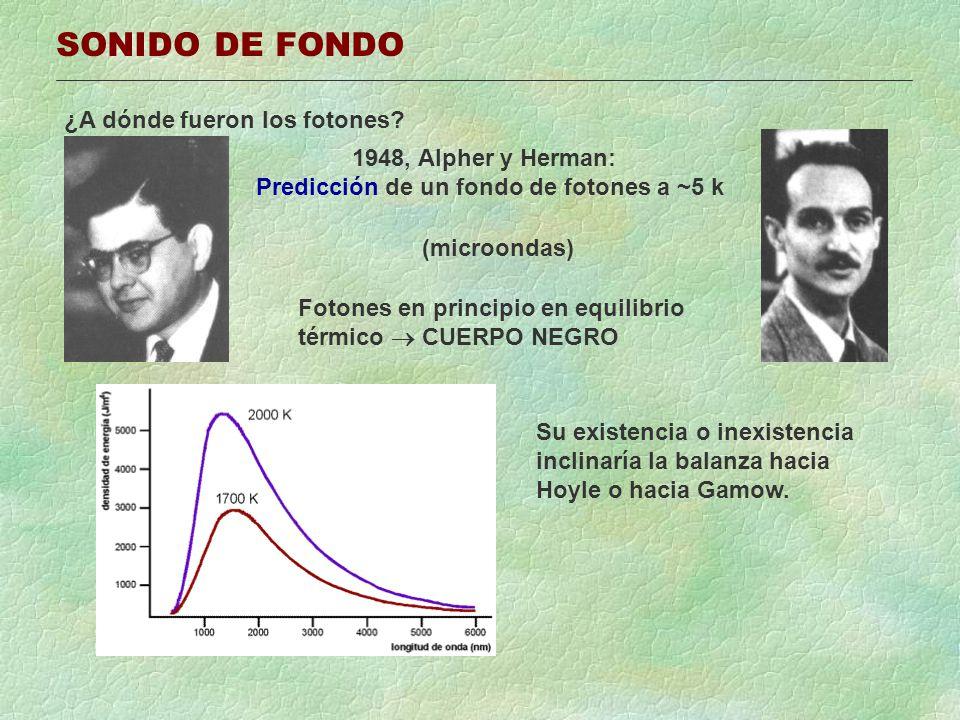 SONIDO DE FONDO ¿A dónde fueron los fotones? 1948, Alpher y Herman: Predicción de un fondo de fotones a ~5 k (microondas) Fotones en principio en equi
