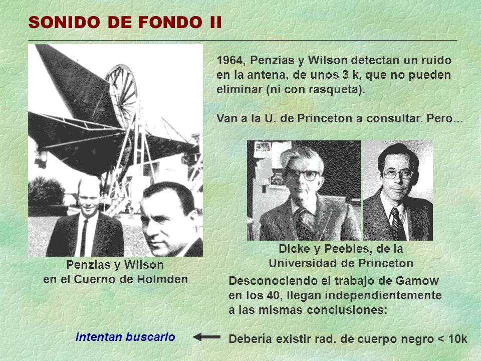 SONIDO DE FONDO II Penzias y Wilson en el Cuerno de Holmden 1964, Penzias y Wilson detectan un ruido en la antena, de unos 3 k, que no pueden eliminar