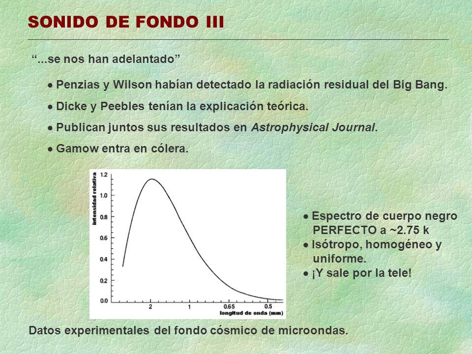 SONIDO DE FONDO III...se nos han adelantado Penzias y Wilson habían detectado la radiación residual del Big Bang. Dicke y Peebles tenían la explicació
