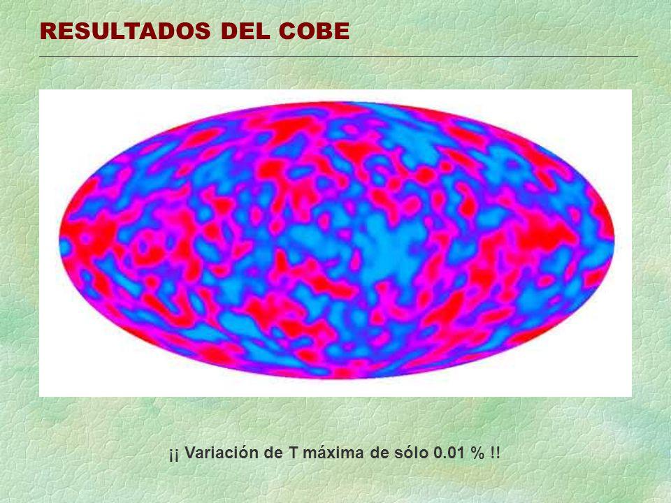 RESULTADOS DEL COBE ¡¡ Variación de T máxima de sólo 0.01 % !!