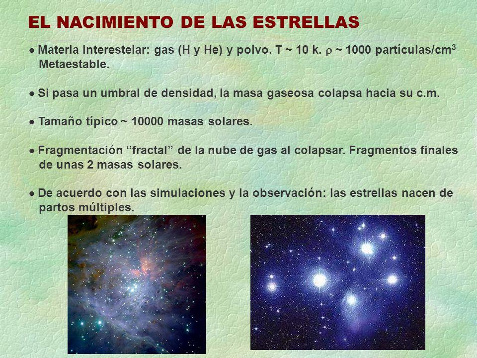 EL NACIMIENTO DE LAS ESTRELLAS Materia interestelar: gas (H y He) y polvo. T ~ 10 k. ~ 1000 partículas/cm 3 Metaestable. Si pasa un umbral de densidad
