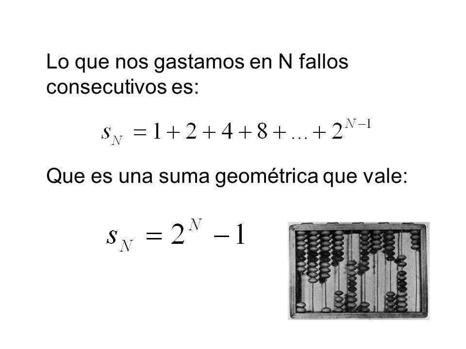 Lo que nos gastamos en N fallos consecutivos es: Que es una suma geométrica que vale: