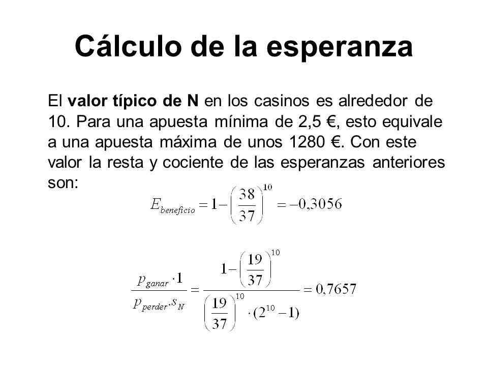 Cálculo de la esperanza El valor típico de N en los casinos es alrededor de 10. Para una apuesta mínima de 2,5, esto equivale a una apuesta máxima de