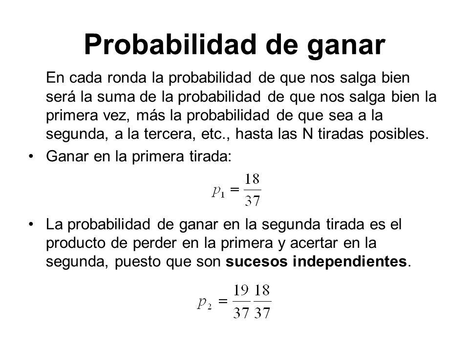 Probabilidad de ganar Así sucesivamente, la probabilidad de ganar en la tirada i es: Y sumando todas tenemos la total: