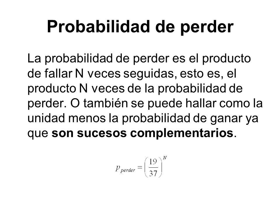 Probabilidad de perder La probabilidad de perder es el producto de fallar N veces seguidas, esto es, el producto N veces de la probabilidad de perder.