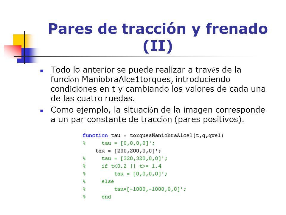 Pares de tracción y frenado (II) Todo lo anterior se puede realizar a trav é s de la funci ó n ManiobraAlce1torques, introduciendo condiciones en t y