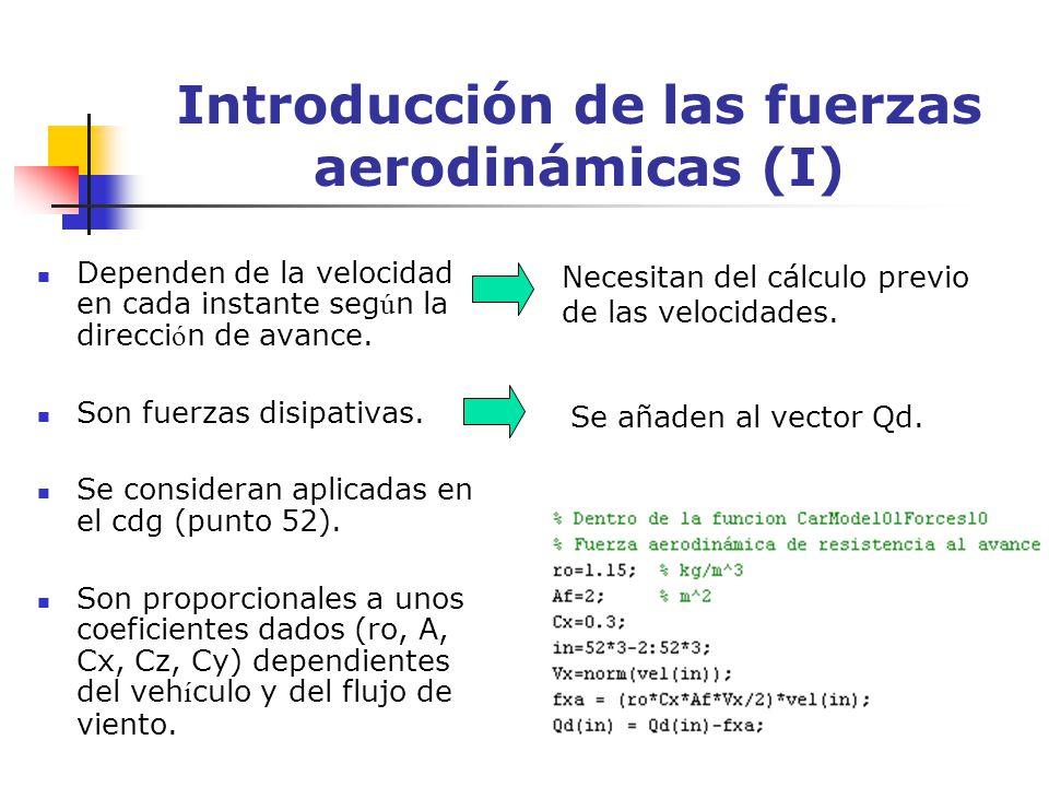 Introducción de las fuerzas aerodinámicas (I) Dependen de la velocidad en cada instante seg ú n la direcci ó n de avance. Son fuerzas disipativas. Se