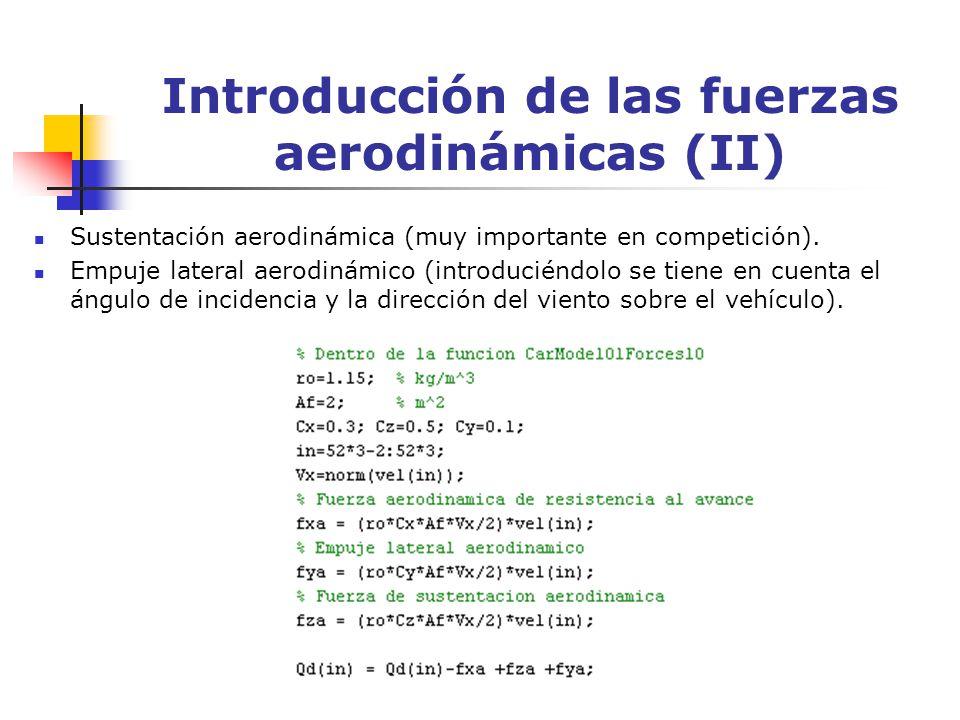 Introducción de las fuerzas aerodinámicas (II) Sustentación aerodinámica (muy importante en competición). Empuje lateral aerodinámico (introduciéndolo