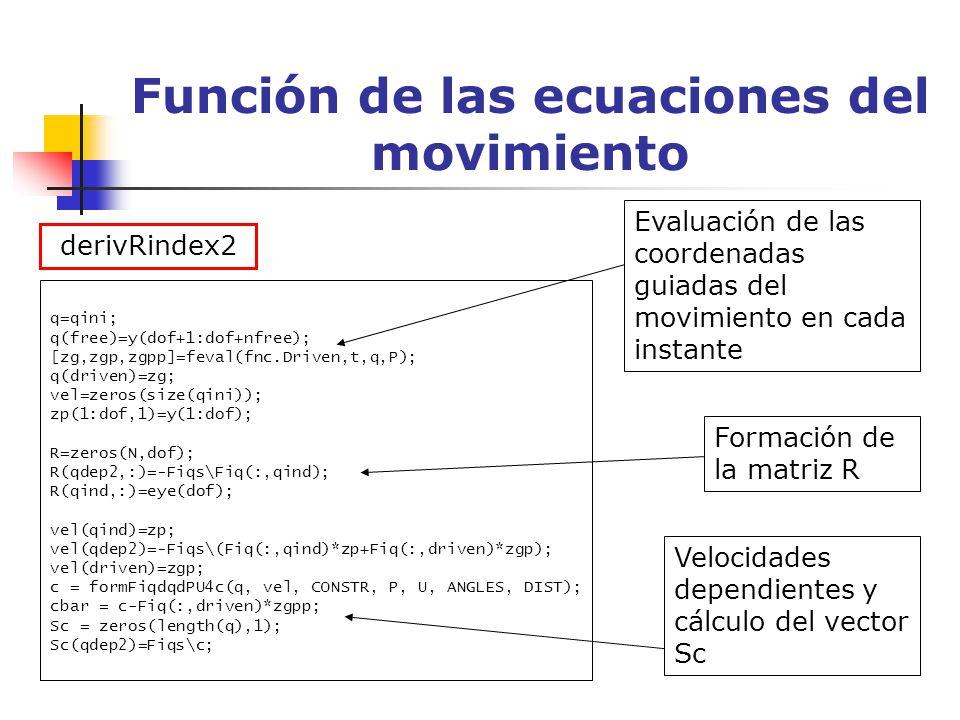 Función de las ecuaciones del movimiento q=qini; q(free)=y(dof+1:dof+nfree); [zg,zgp,zgpp]=feval(fnc.Driven,t,q,P); q(driven)=zg; vel=zeros(size(qini)