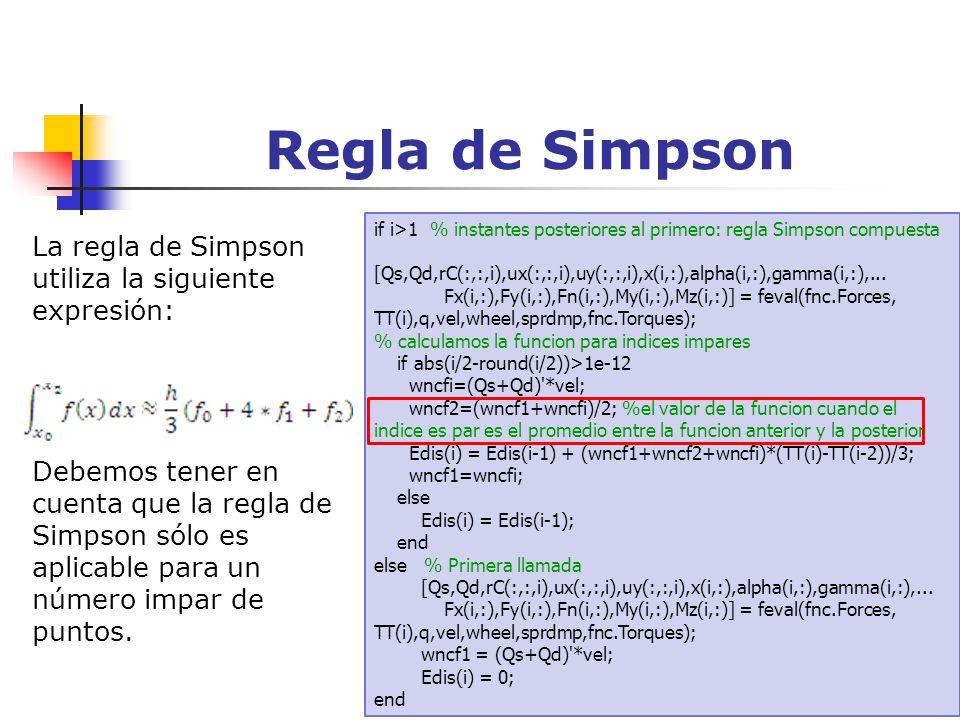 Regla de Simpson if i>1 % instantes posteriores al primero: regla Simpson compuesta [Qs,Qd,rC(:,:,i),ux(:,:,i),uy(:,:,i),x(i,:),alpha(i,:),gamma(i,:),