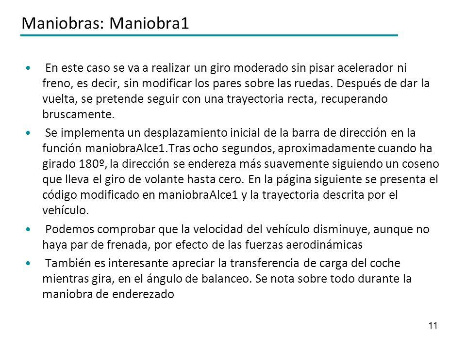 11 Maniobras: Maniobra1 En este caso se va a realizar un giro moderado sin pisar acelerador ni freno, es decir, sin modificar los pares sobre las rued
