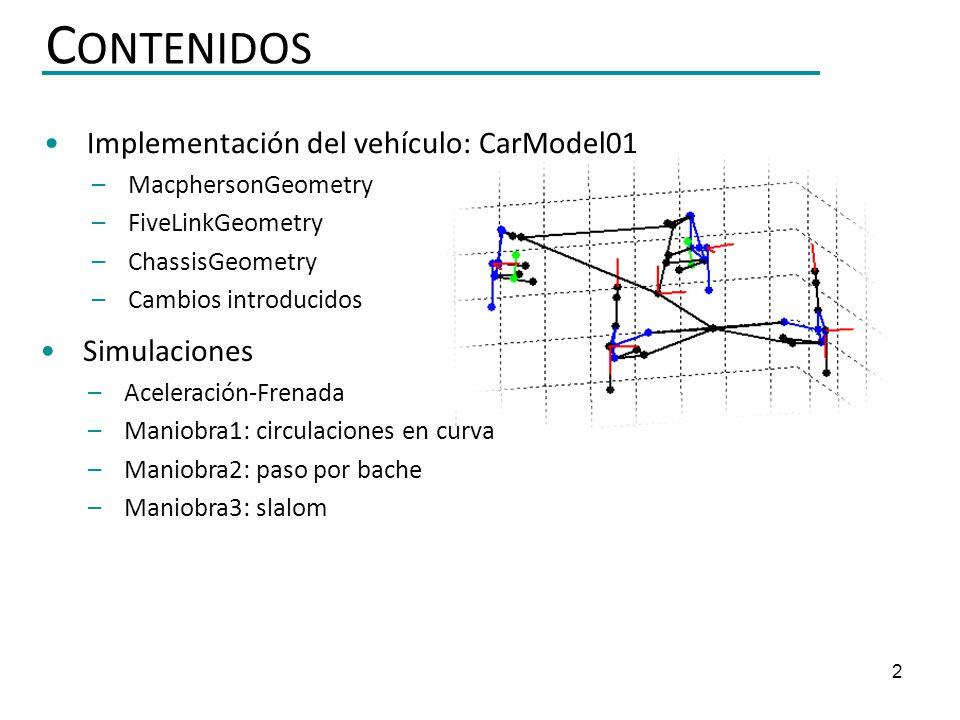 2 Implementación del vehículo: CarModel01 – MacphersonGeometry – FiveLinkGeometry – ChassisGeometry – Cambios introducidos C ONTENIDOS Simulaciones –