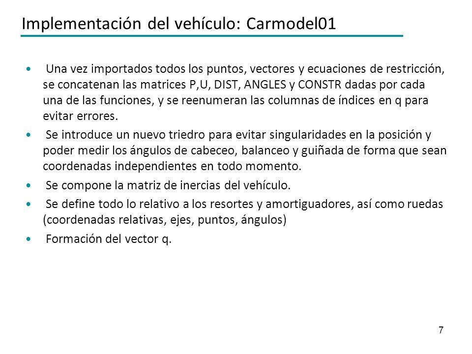 7 Implementación del vehículo: Carmodel01 Una vez importados todos los puntos, vectores y ecuaciones de restricción, se concatenan las matrices P,U, D