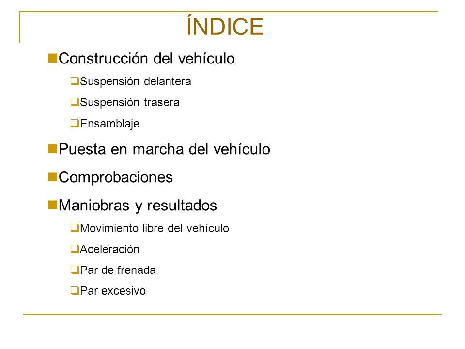 ÍNDICE Construcción del vehículo Suspensión delantera Suspensión trasera Ensamblaje Puesta en marcha del vehículo Comprobaciones Maniobras y resultado