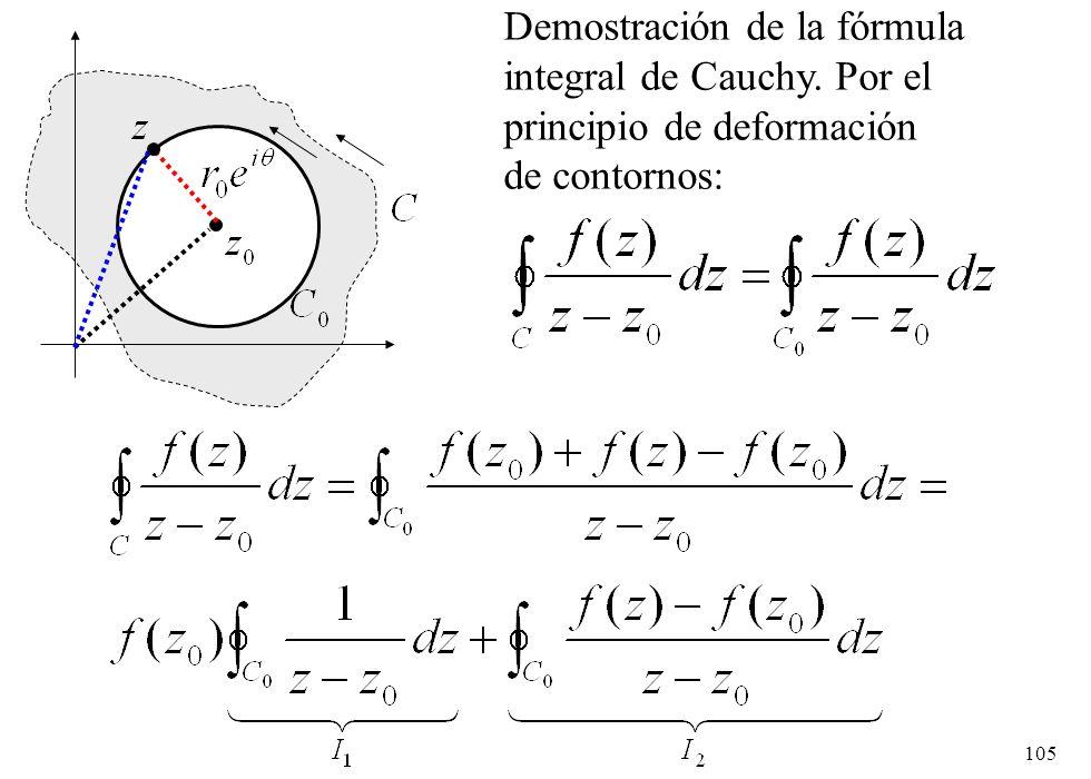 105 Demostración de la fórmula integral de Cauchy. Por el principio de deformación de contornos: