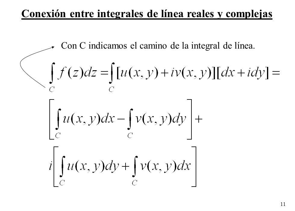 11 Conexión entre integrales de línea reales y complejas Con C indicamos el camino de la integral de línea.