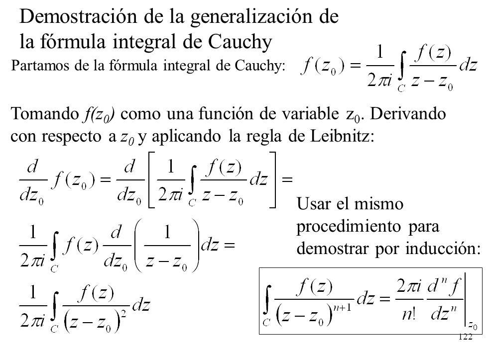122 Tomando f(z 0 ) como una función de variable z 0. Derivando con respecto a z 0 y aplicando la regla de Leibnitz: Partamos de la fórmula integral d
