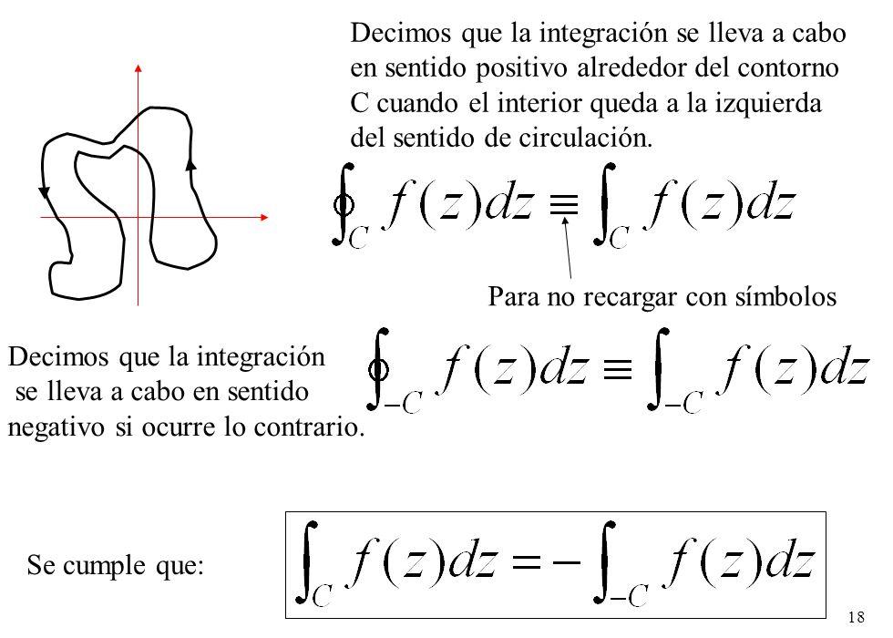 18 Decimos que la integración se lleva a cabo en sentido positivo alrededor del contorno C cuando el interior queda a la izquierda del sentido de circ