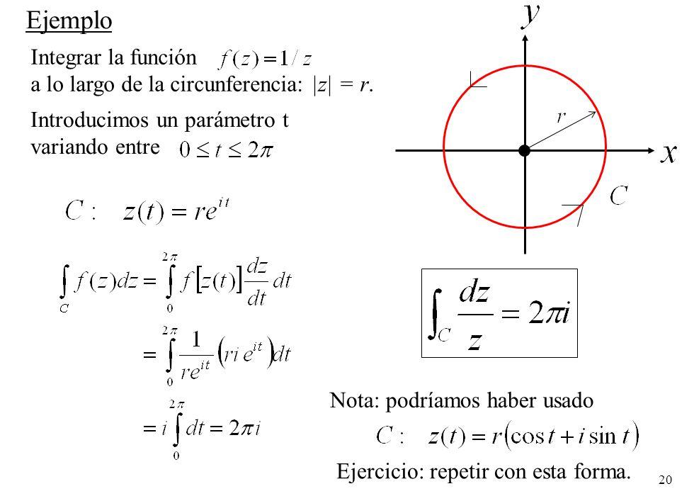 20 Integrar la función a lo largo de la circunferencia:  z  = r. Ejemplo Introducimos un parámetro t variando entre Nota: podríamos haber usado Ejerci