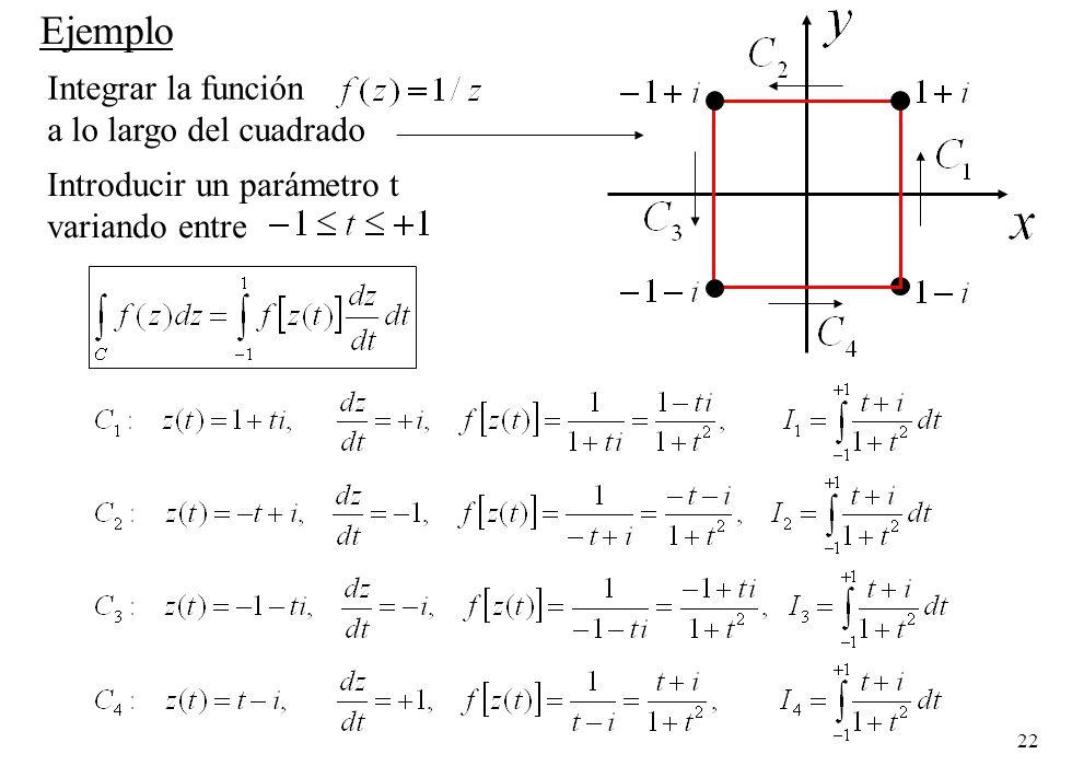 22 Integrar la función a lo largo del cuadrado Ejemplo Introducir un parámetro t variando entre