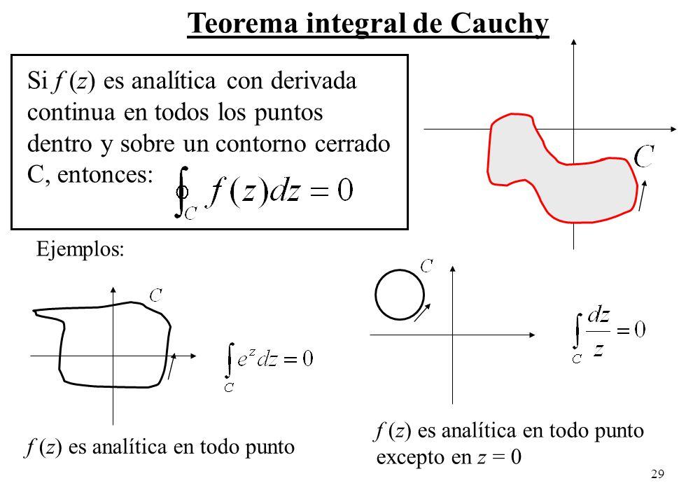 29 Teorema integral de Cauchy Si f (z) es analítica con derivada continua en todos los puntos dentro y sobre un contorno cerrado C, entonces: f (z) es