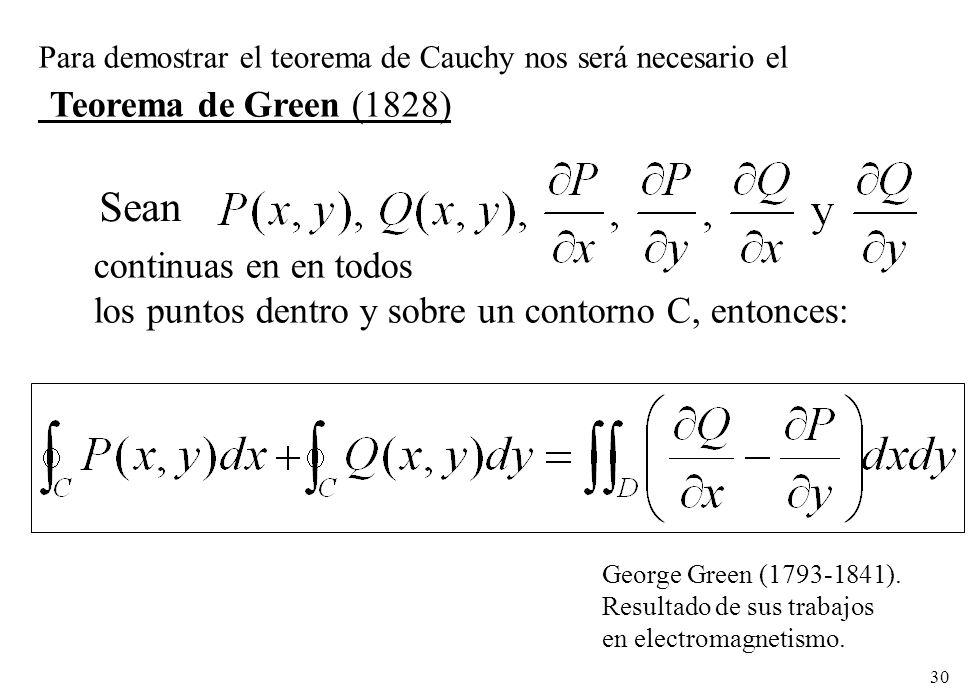 30 Para demostrar el teorema de Cauchy nos será necesario el Teorema de Green (1828) George Green (1793-1841). Resultado de sus trabajos en electromag