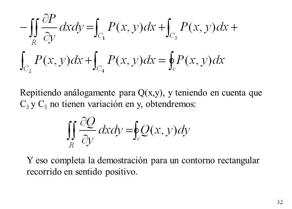 32 Repitiendo análogamente para Q(x,y), y teniendo en cuenta que C 3 y C 1 no tienen variación en y, obtendremos: Y eso completa la demostración para