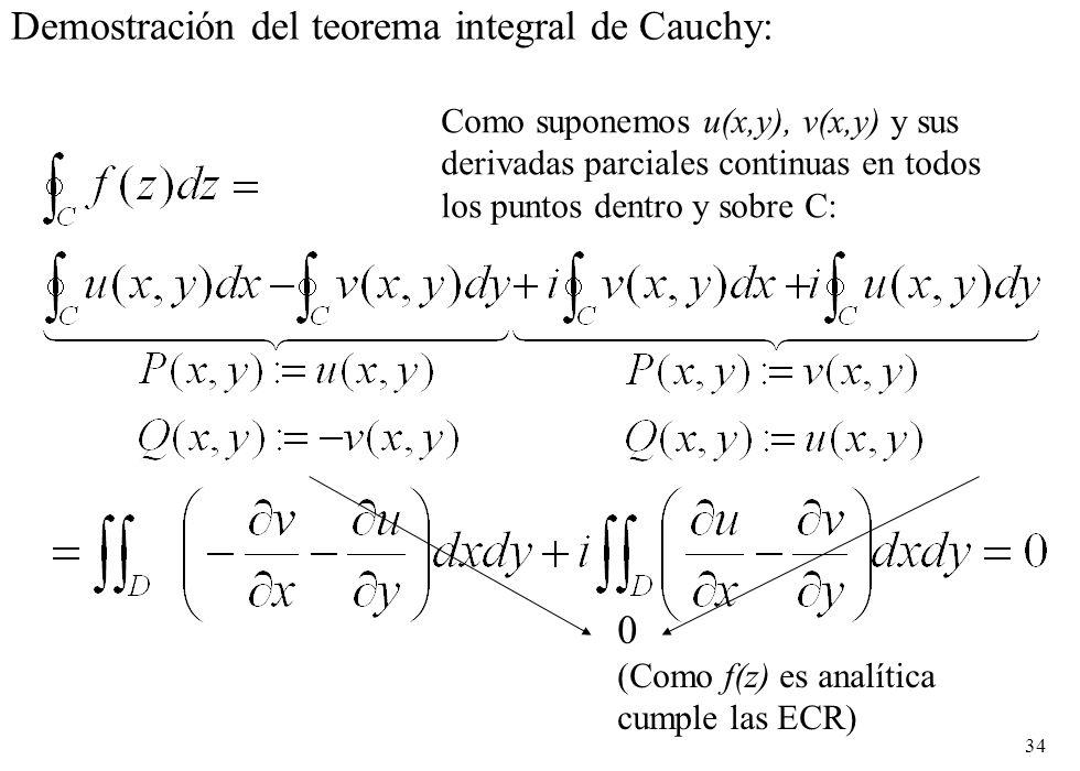 34 Demostración del teorema integral de Cauchy: 0 (Como f(z) es analítica cumple las ECR) Como suponemos u(x,y), v(x,y) y sus derivadas parciales cont