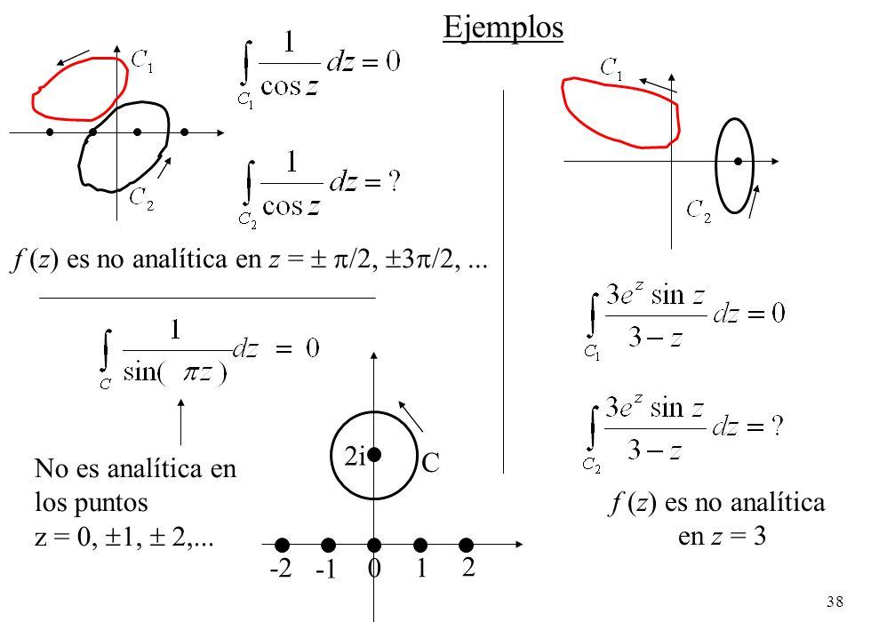 38 f (z) es no analítica en z = /2, 3 /2,... f (z) es no analítica en z = 3 Ejemplos No es analítica en los puntos z = 0, 1, 2,... 0 1 2 -2 C 2i
