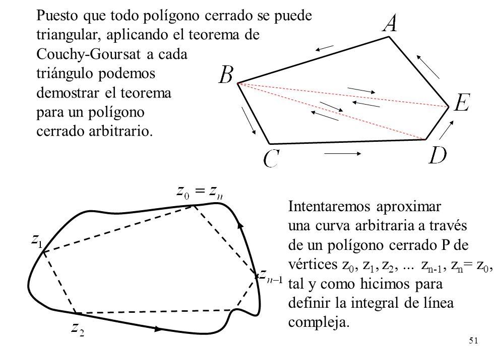 51 Puesto que todo polígono cerrado se puede triangular, aplicando el teorema de Couchy-Goursat a cada triángulo podemos demostrar el teorema para un