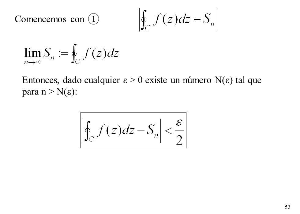 53 Comencemos con 1 Entonces, dado cualquier > 0 existe un número N( ) tal que para n > N( ):