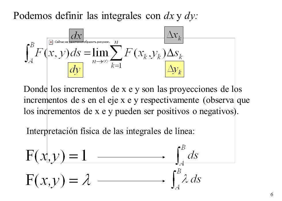 6 Interpretación física de las integrales de línea: Podemos definir las integrales con dx y dy: Donde los incrementos de x e y son las proyecciones de