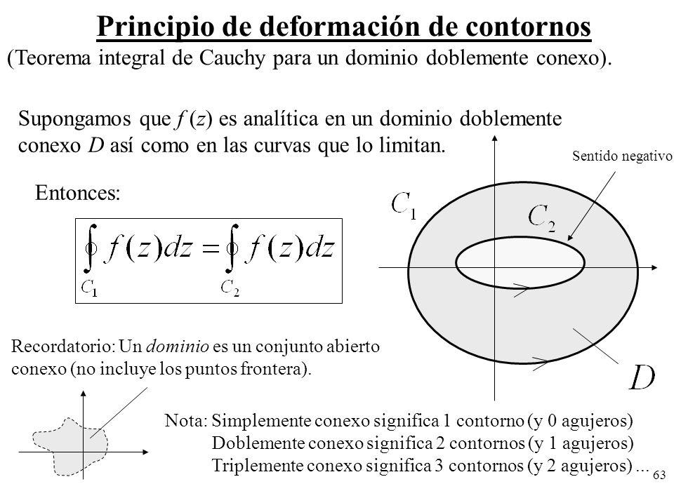 63 Principio de deformación de contornos (Teorema integral de Cauchy para un dominio doblemente conexo). Supongamos que f (z) es analítica en un domin