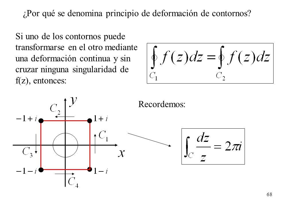 68 ¿Por qué se denomina principio de deformación de contornos? Si uno de los contornos puede transformarse en el otro mediante una deformación continu