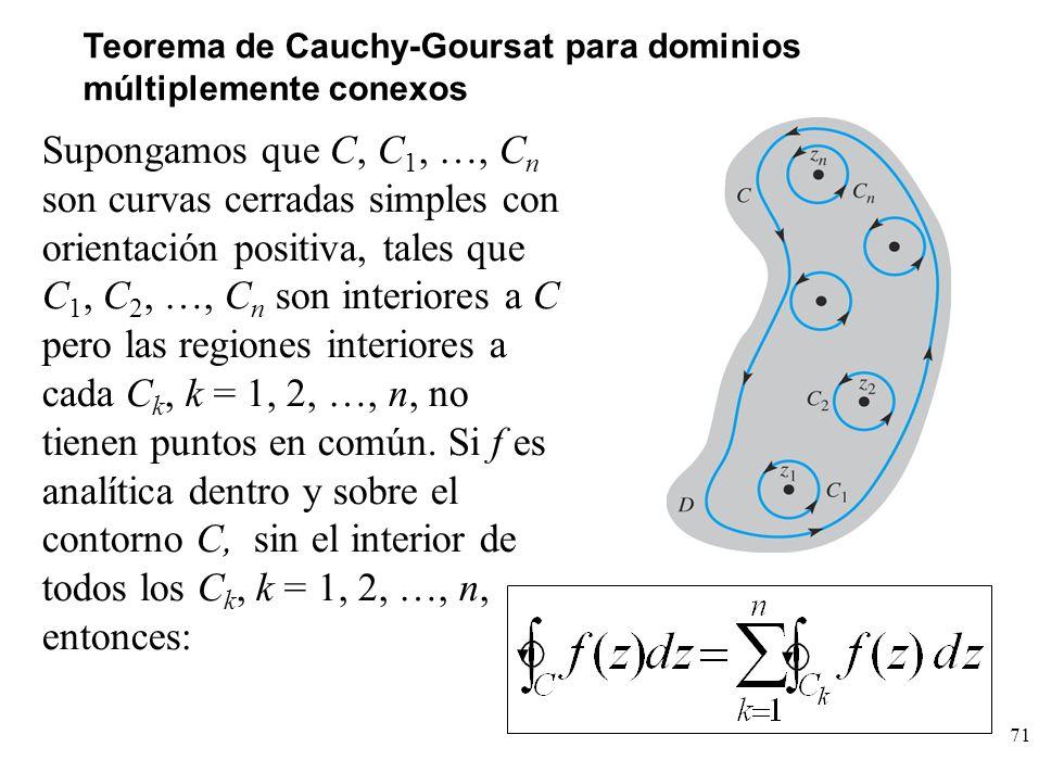 71 Teorema de Cauchy-Goursat para dominios múltiplemente conexos Supongamos que C, C 1, …, C n son curvas cerradas simples con orientación positiva, t