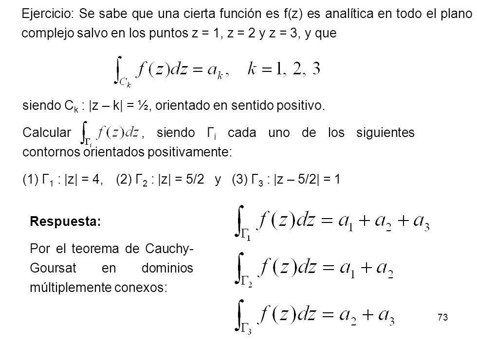 73 Ejercicio: Se sabe que una cierta función es f(z) es analítica en todo el plano complejo salvo en los puntos z = 1, z = 2 y z = 3, y que siendo C k