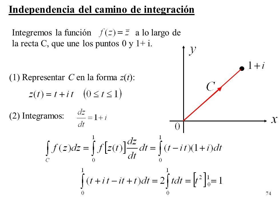 74 Integremos la función a lo largo de la recta C, que une los puntos 0 y 1+ i. (1) Representar C en la forma z(t): (2) Integramos: Independencia del