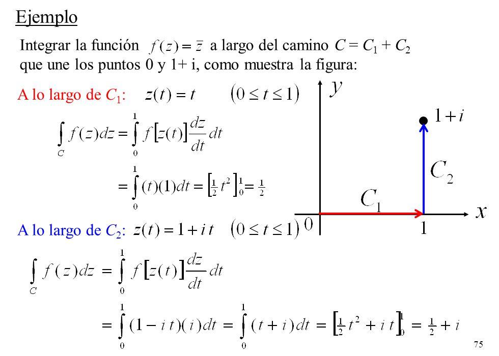 75 A lo largo de C 2 : Ejemplo Integrar la función a largo del camino C = C 1 + C 2 que une los puntos 0 y 1+ i, como muestra la figura: A lo largo de