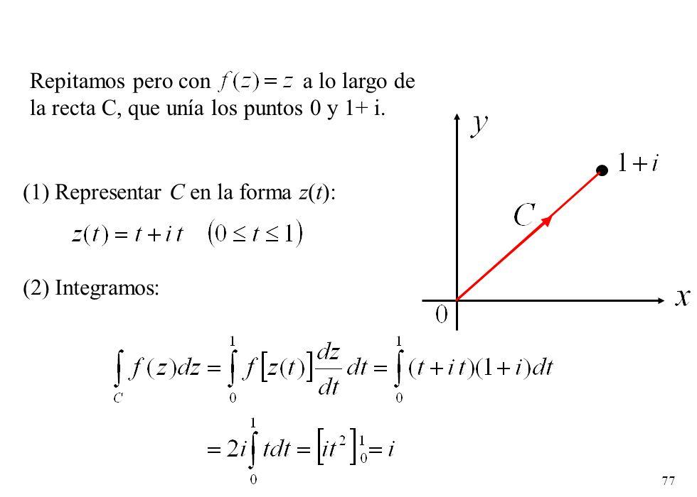 77 Repitamos pero con a lo largo de la recta C, que unía los puntos 0 y 1+ i. (1) Representar C en la forma z(t): (2) Integramos: