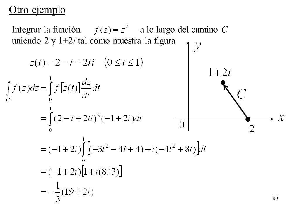 80 Integrar la función a lo largo del camino C uniendo 2 y 1+2i tal como muestra la figura Otro ejemplo