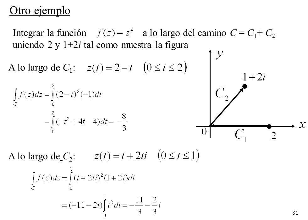 81 Integrar la función a lo largo del camino C = C 1 + C 2 uniendo 2 y 1+2i tal como muestra la figura Otro ejemplo A lo largo de C 1 : A lo largo de