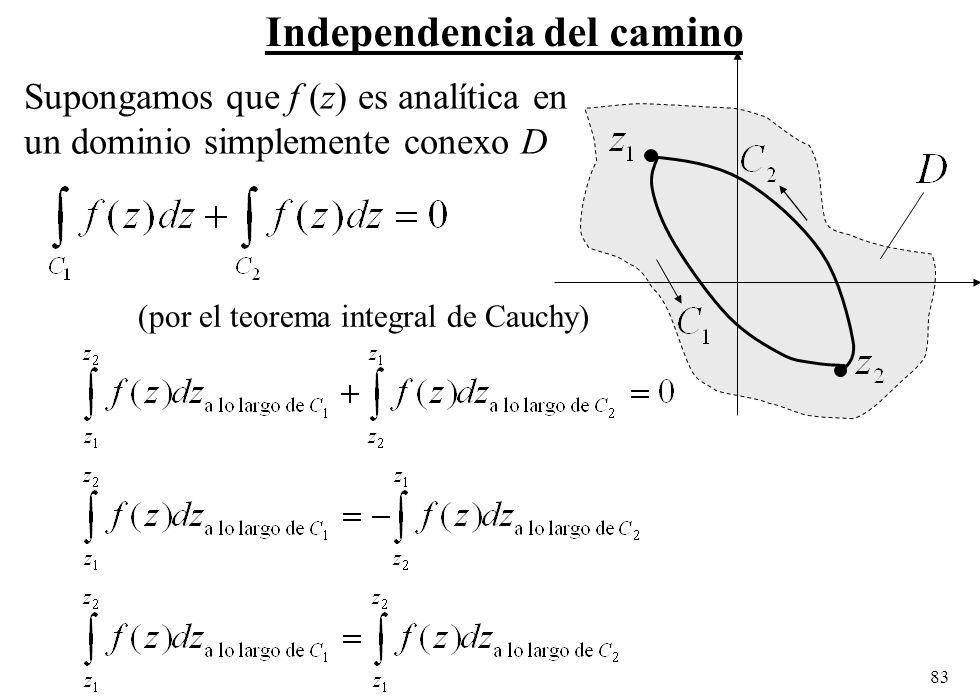 83 Independencia del camino Supongamos que f (z) es analítica en un dominio simplemente conexo D (por el teorema integral de Cauchy)