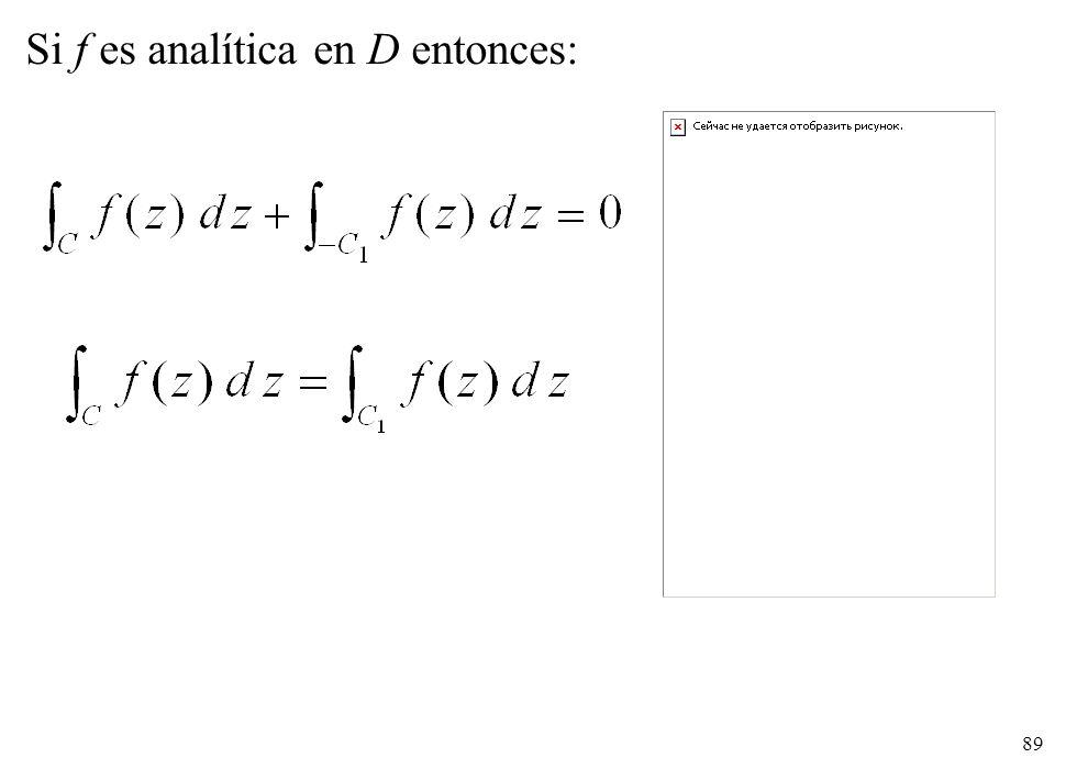 89 Si f es analítica en D entonces: