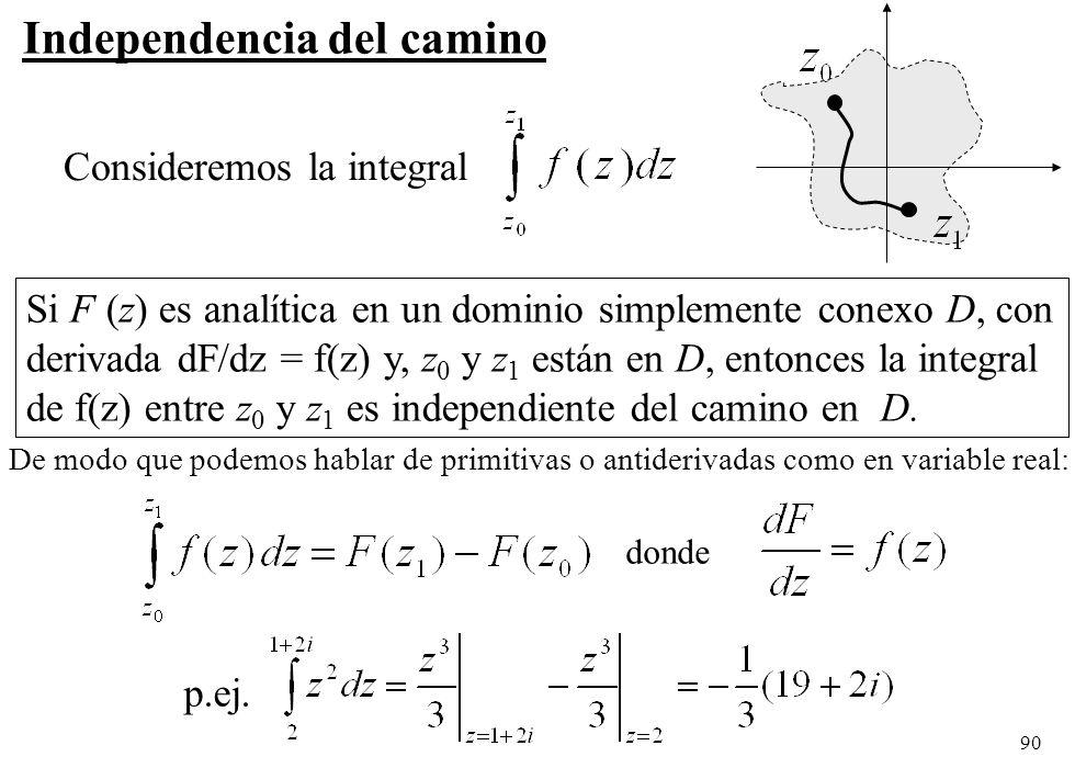 90 Independencia del camino Consideremos la integral Si F (z) es analítica en un dominio simplemente conexo D, con derivada dF/dz = f(z) y, z 0 y z 1