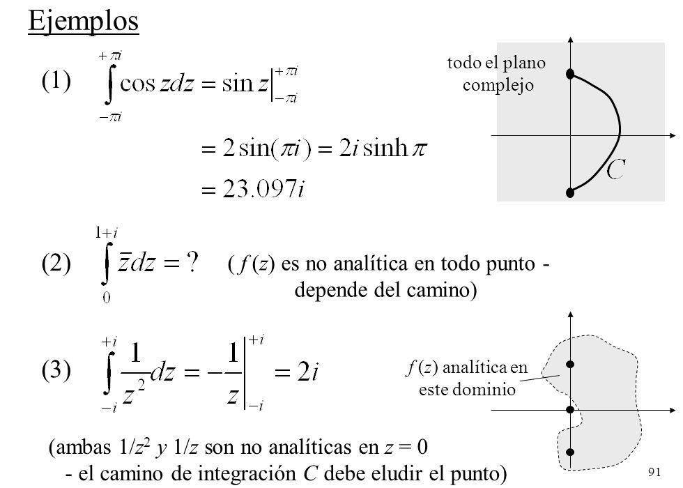91 Ejemplos (1) todo el plano complejo (2) ( f (z) es no analítica en todo punto - depende del camino) (3) f (z) analítica en este dominio (ambas 1/z