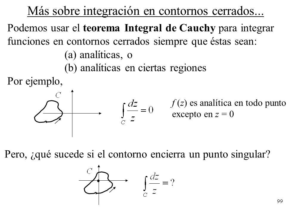 99 Más sobre integración en contornos cerrados... Podemos usar el teorema Integral de Cauchy para integrar funciones en contornos cerrados siempre que