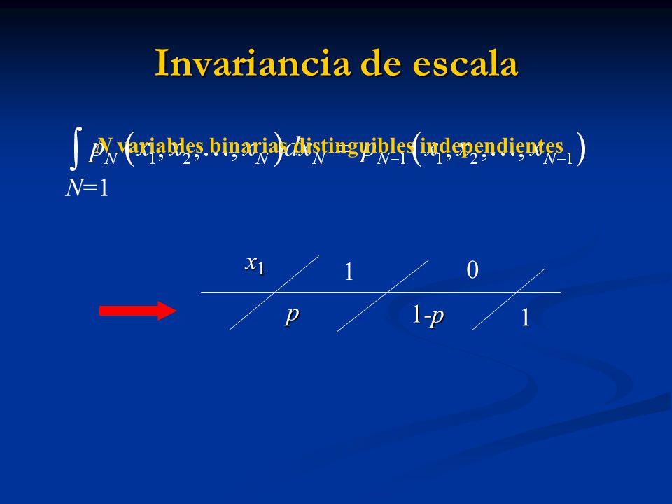 Invariancia de escala x1x1x1x1p 1-p 1 0 N=1 N variables binarias distinguibles independientes 1