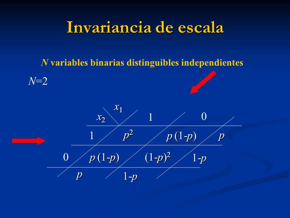 Invariancia de escala x1x1x1x1 p2p2p2p2 p (1-p) (1-p) 2 1 0 1 0 x2x2x2x2 p 1-p 1-p p 1-p N=2 N variables binarias distinguibles independientes